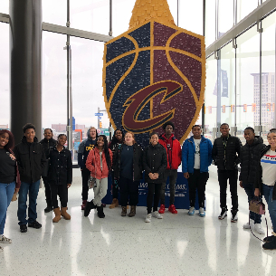 BHS Marketing students at a Cavs game at Rocket Mortgage Fieldhous