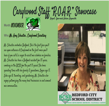 October ROAR Staff Showcase, Mrs. Amy Schuster