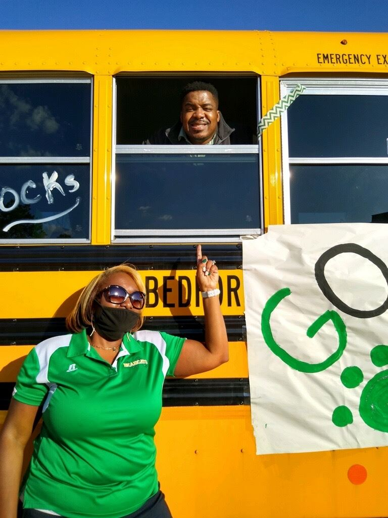 Columbus' Principal, Mrs. Threat, and Columbus Dean,, Mr. Huff, are ready for the Homecoming Parade!