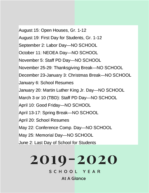 2019-2020 School Year Important Dates