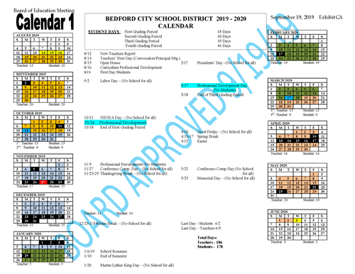 Updated district calendar