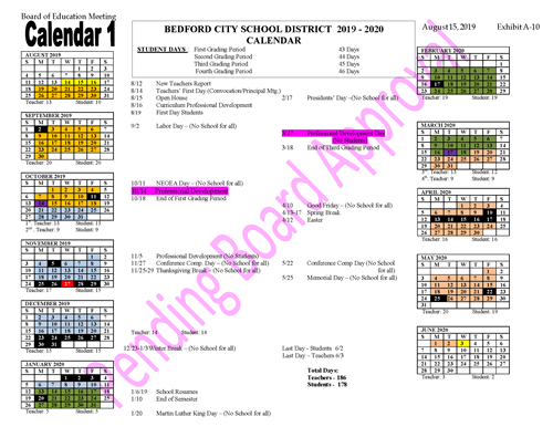 Proposed changes to school calendar
