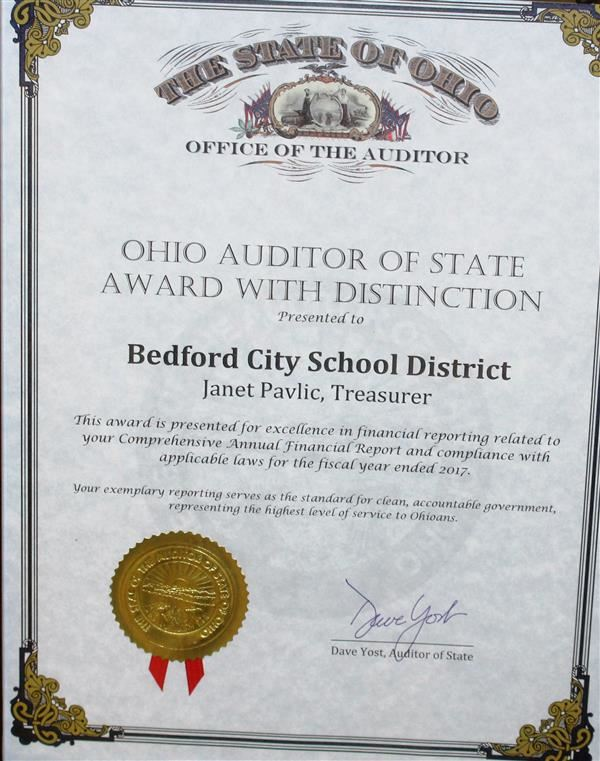 Auditor of State Award for BCSD