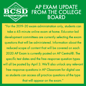 AP EXAM UPDATE FROM THE COLLEGE BOARD